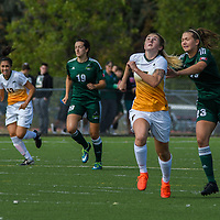 3rd year forward Brianna Wright (7) of the Regina Cougars chases the ball during the Women's Soccer Homeopener on September 10 at U of R Field. Credit: Arthur Ward/Arthur Images