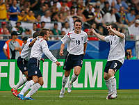 Photo: Glyn Thomas.<br />England v Ecuador. 2nd Round, FIFA World Cup 2006. 25/06/2006.<br /> England's David Beckham (L) celebrates after scoring his side's opening goal from a free kick.