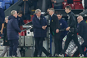 Manchester United interim Manager Ole Gunnar Solskjaer shakes hands with Crystal Palace Manager Roy Hodgson after the game during the Premier League match between Crystal Palace and Manchester United at Selhurst Park, London, England on 27 February 2019.