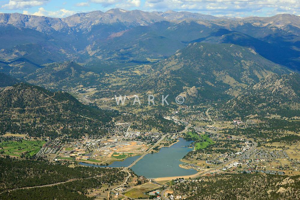 Aerial of Estes Park, Colorado. Sept 2, 2013