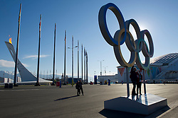 14.02.2014, Olympic Park, Adler, RUS, Sochi, 2014, Feature, im Bild Olympische Ringe, Olympisches Feuer // during the Olympic Winter Games Sochi 2014 at the Olympic Park in Adler, Russia on 2014/02/14. EXPA Pictures © 2014, PhotoCredit: EXPA/ Freshfocus/ Urs Lindt<br /> <br /> *****ATTENTION - for AUT, SLO, CRO, SRB, BIH, MAZ only*****