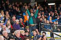 KELOWNA, CANADA - FEBRUARY 28: A fan tried to get the wave going with the crowd on February 28, 2015 at Prospera Place in Kelowna, British Columbia, Canada.  (Photo by Marissa Baecker/Shoot the Breeze)  *** Local Caption *** fans;
