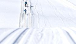 22.03.2018, Ramsau am Dachstein, AUT, Red Bull Der lange Weg, Überquerung Alpenhauptkamm, längste Skitour der Welt, im Bild Bernhard Hug (SUI), vorne, und David Wallmann (AUT), unterwegs auf einer Loipe // during the Red Bull Der lange Weg, crossing of the main ridge of the Alps, longest ski tour of the world, in Ramsau am Dachstein, Austria on 2018/03/22. EXPA Pictures © 2018, PhotoCredit: EXPA/ Martin Huber