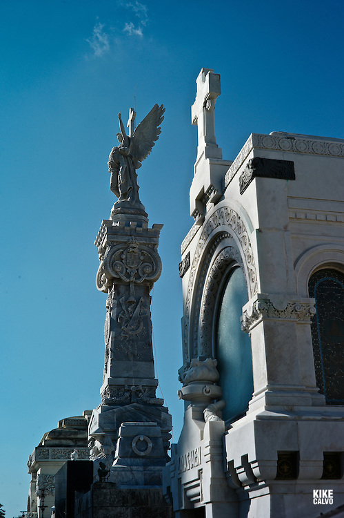 Havana´s monumental Columbus Cemetery, one of the larguest in the world, designed by Calixto de Loira. Monument to the Victimas de la Caridad, pantheon of the victims of an accident happened in 1890, by architects Agustin Querol and Julio Zapata.