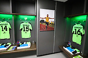 Andy Grant good luck poster in the dressing room during the Vanarama National League Play Off Final match between Tranmere Rovers and Forest Green Rovers at Wembley Stadium, London, England on 14 May 2017. Photo by Shane Healey.