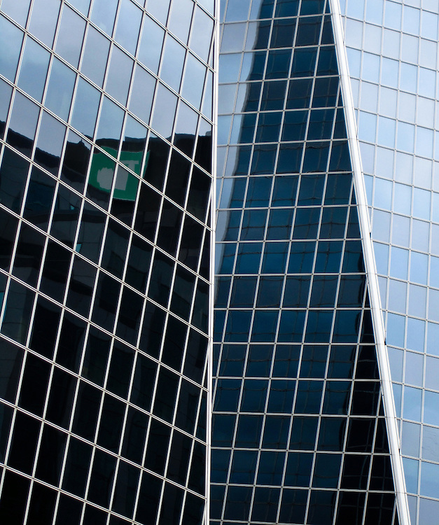 Glass windows reflecting light, Hill Towers, downtown Regina Saskatchewan
