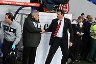 Cardiff city manager Malky Mackay ® greets the Sheff Wed and ex Cardiff boss Dave Jones before the match. NPower championship, Cardiff city v Sheffield Wednesday at the Cardiff city Stadium in Cardiff on Sunday 2nd Dec 2012. pic by Andrew Orchard, Andrew Orchard sports photography,