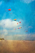 Beach Kite Flying Colorful high above sand, Digital oil painted texture,  Beautiful, Unique
