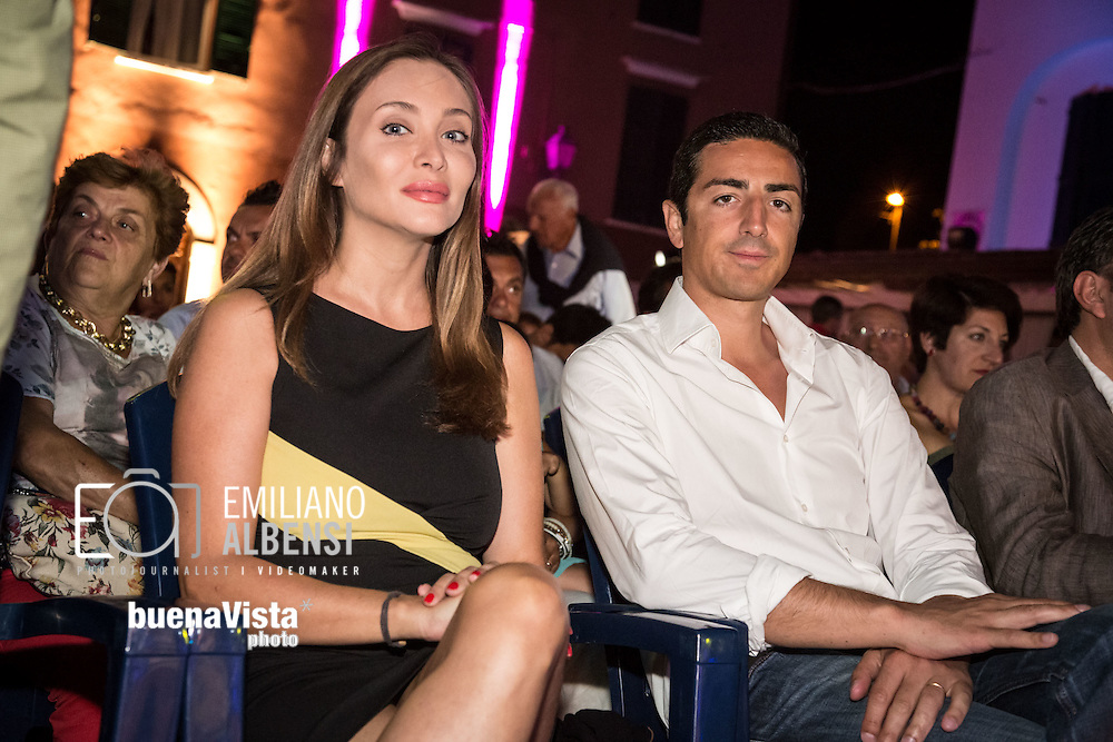 Maratea, Basilicata, Italia, 19/08/2014<br /> L'attrice Isabella Orsini e il marito, il principe Edouarde de Ligne de la Tremoille alla Settimana del Cinema di Maratea<br /> <br /> Maratea, Basilicata, Italy, 19/08/2014<br /> <br /> The actress Isabella Orsini and her husband, the prince Edouarde de Ligne de la Tremoille, in Maratea for the Week of Cinema 2014