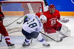 GANGNEUNG, SOUTH KOREA - FEBRUARY 16: forward Ken Ograjensek #18 of Slovenia, goaltender Vasili Koshechkin #83 of Olympic Athlete from Russia during Ice Hockey match between Slovenia and Olympic Athletes from Russia in the Men's Ice Hockey Preliminary Round Group B at Gangneung Hockey Centre on February 16, 2018 in Gangneung, South Korea. Photo by Ronald Hoogendoorn / Sportida