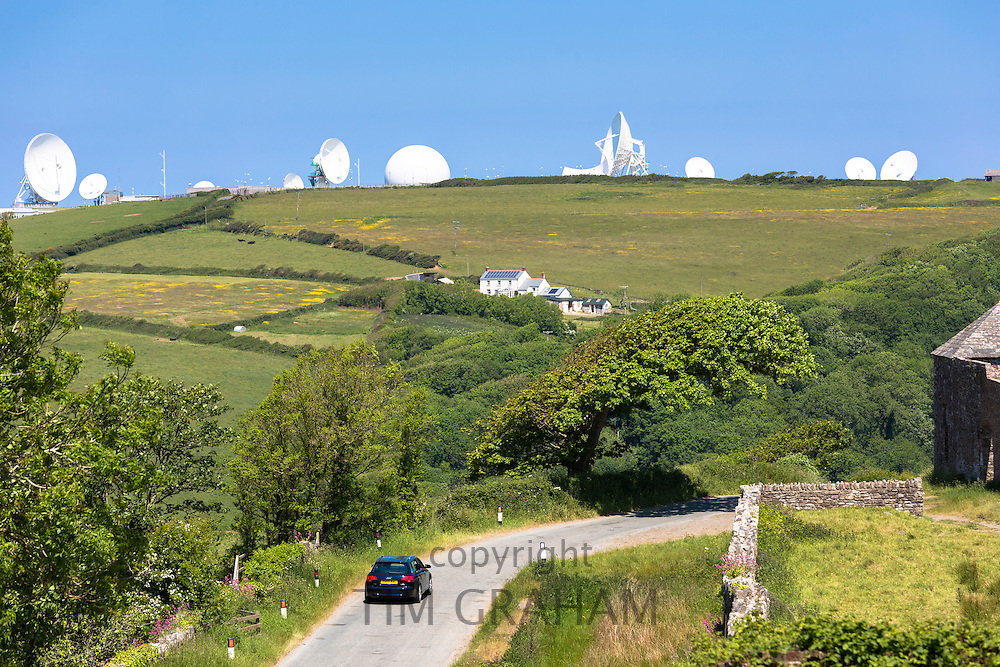 Satellite antenna dish at GCHQ Bude Satellite Listening Station (Government Communications Headquarters) defence at Cleave Camp, Cornwall, UK