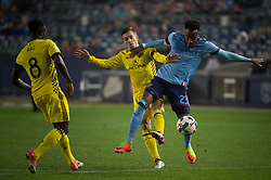 November 5, 2017 - Bronx, New York, U.S - New York City FC defender RODNEY WALLACE (23) fights for the ball against Columbus Crew midfielder WILL TRAPP (20) while Columbus Crew midfielder MOHAMMED ABU (8) looks on during leg 2 of the Eastern Conference Semifinal at Yankee Stadium, Bronx, NY.  NYCFC defeats Columbus Crew 2-0.  Columbus wins 4-3 on aggregate. (Credit Image: © Mark Smith via ZUMA Wire)