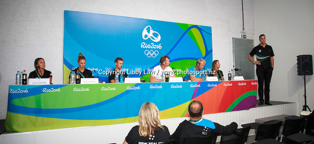 Julia Edward; Emma Twigg; Alistair Bond; Mahe Drysdale; Eric Murray; Rebecca Scown:  Press Conference: ROWING and Rob Waddell, New Zealand Chef de Mission. MPC Rio 2016 Olympic Games, Monday 1 August. CREDIT: Libby Law / www.photosport.nz