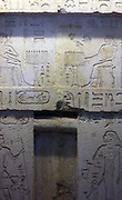 False door of Neferseshemkhufu. 5th Dynasty Egyptian wall feature from Guza. Dated approximately 2400 BC. Made of limestone.