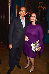 Aftab Jafferjee and Nazli Jafferjee at Mark Shand's Adventures and His Cabinet Of Curiosities VIP private view, 32 Portland Place, London, England. 20 February 2018.