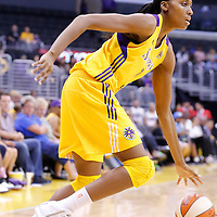 17 June 2014: Los Angeles Sparks forward/center Sandrine Gruda (7) drives to the basket during the Minnesota Lynx  94-77 victory over the Los Angeles Sparks, at the Staples Center, Los Angeles, California, USA.