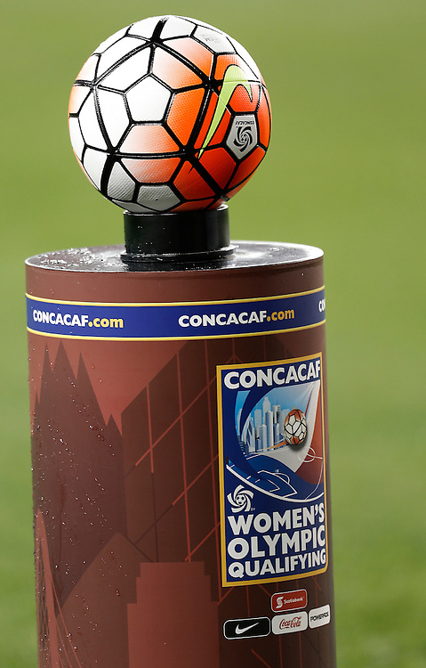 Feb 19, 2016; Houston, TX, USA; A view of the Concacaf ball before the USA played against Trinidad & Tobago in the first half during the semifinals of the 2016 CONCACAF women's Olympic soccer tournament at BBVA Compass Stadium.  Mandatory Credit: Thomas B. Shea-USA TODAY Sports