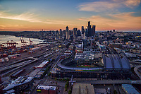 Seattle Stadiums with Port of Seattle & Downtown Seattle @ Sunset
