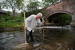 UK ENGLAND ENGLAND SHROPSHIRE LLANYBLODWEL 1JUL15 -  Angler Robert Park does monthly kick sampling in the river Tanat in Llanyblodwel, part of the river Severn catchment area.<br /> <br /> jre/Photo by Jiri Rezac / WWF UK<br /> <br /> &copy; Jiri Rezac 2015
