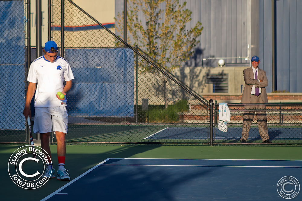 Boise, ID. Boise state Senior Day. Coach greg patton's son Garrett Patton, the only Senior on the Bronco team takes plays his last regular season match on the Appleton Tennis Courts.