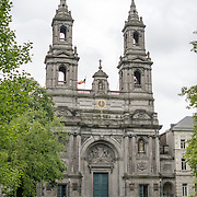 The Church of Saint Joseph on the southern edge of the Square Frere-Orban Park in the Quartier Léopold in Brussels, Belgium. The square is named after Walthère Frère-Orban (1812-1896), a Belgian liberal politician and political leader.