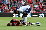 Ryan Fraser (24) of AFC Bournemouth goes down with an injury with Theo Walcott (11) of Everton checking on him during the Premier League match between Bournemouth and Everton at the Vitality Stadium, Bournemouth, England on 25 August 2018.