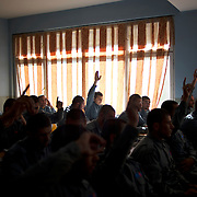 Afghan National Police (ANP) cadets receive theory classes at the Afghan Nacional Police Academy in Kabul.