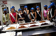 Photo by Scott Strazzante-Chicago Tribune Magazine<br /> Following a tour of Hoopeston Foods, Miss Kentucky Bryn Chapman and other contestants react to being offered to sample the 7 kinds of beans canned at the factory.