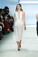 Mathilde Brandi walks the runway wearing Cushnie et Ochs Fall 2016, hair by Antonio Corral Calero for Moroccanoil, makeup by Val Garland, photographed by Thomas Concordia during New York Fashion Week on February 12, 2016