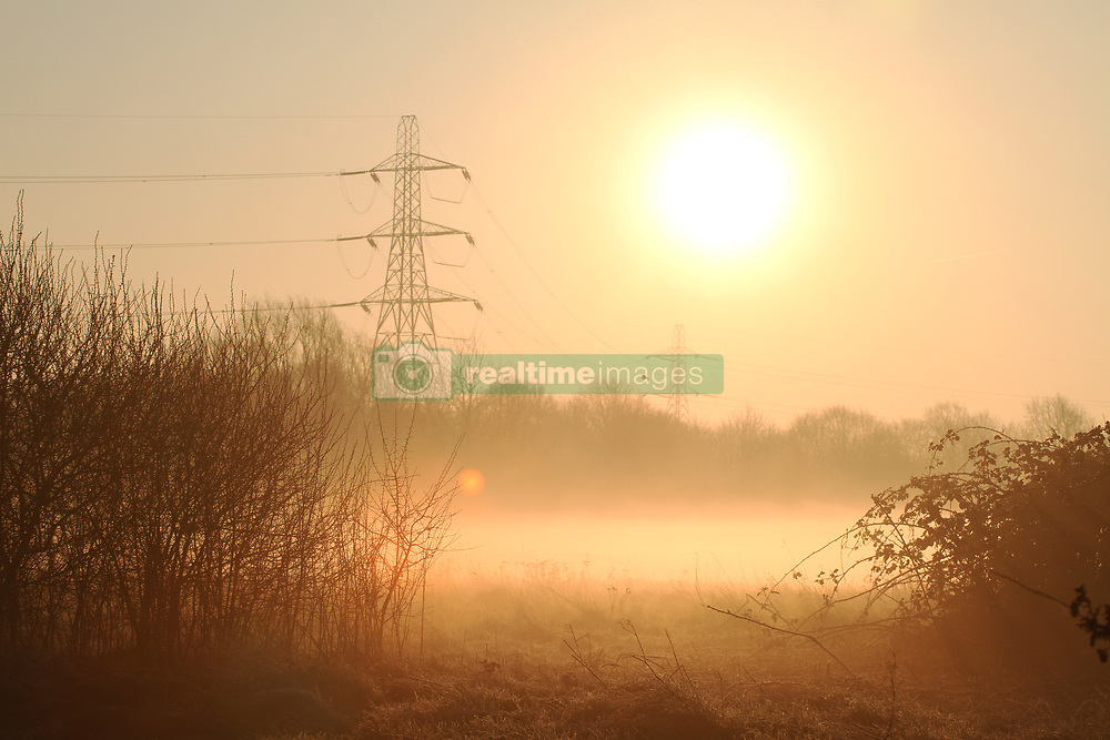 Winter weather at sunrise in Walthamstow Marshes, East London