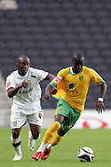 Milton Keynes - Tuesday, August 12th, 2008: Jemal Johnson (L) of MK Dons and Omar Koroma (R) of Norwich City during the Carling League Cup First Round match at Stadium MK, Milton keynes. (Pic by Mark Chapman/Focus Images)