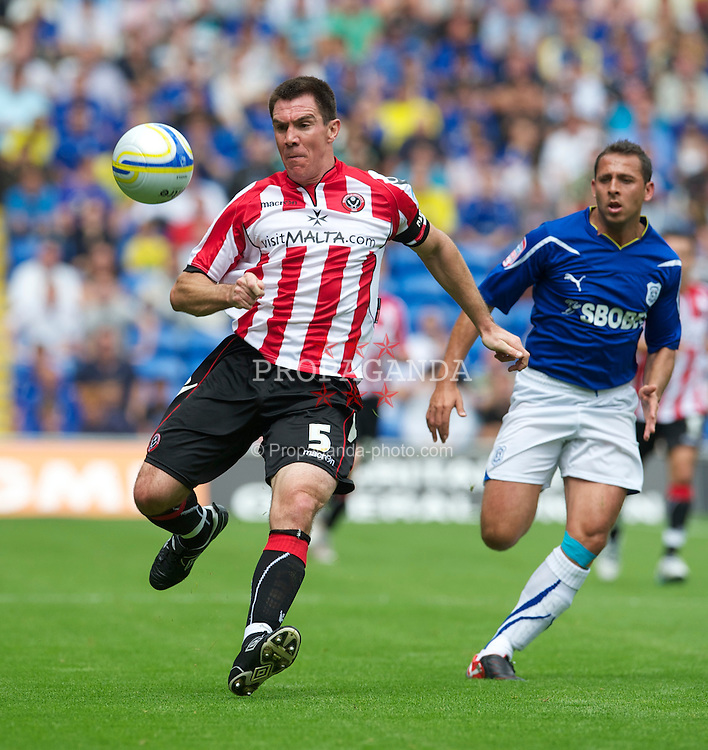 CARDIFF, WALES - Sunday, August 8, 2010: Sheffield United's Mark Hudson in action against Cardiff City during the League Championship match at the Cardiff City Stadium. (Pic by: David Rawcliffe/Propaganda)