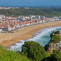 Alberto Carrera, View of Nazaré Beach, Atlantic coast, Nazaré, Portugal, Europe