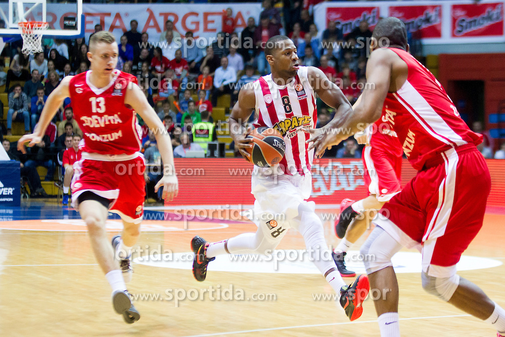 D.J. Strawberry of Olympiacos during Euroleague basketball match in 6th Round of Group B between KK Cedevita Zagreb and Olympiacos Piraeus, on November 19, 2015, in Drazen Petrovic basketball hall, Zagreb, Croatia.