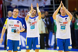 Uros Zorman of Slovenia, David Spiler of Slovenia and Miha Zvizej of Slovenia after the handball match between Slovenia and Croatia in  2nd Round of Preliminary Round of 10th EHF European Handball Championship Serbia 2012, on January 18, 2012 in Millennium Center, Vrsac, Serbia. Croatia defeated Slovenia 31-29. (Photo By Vid Ponikvar / Sportida.com)