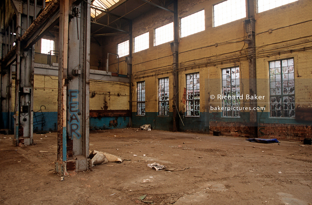 A 1998 landscape showing a derelict interior of Battersea Power Station, on 25th March 1998, in London, England.