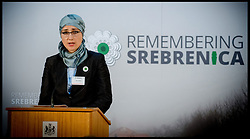 Image ©Licensed to i-Images Picture Agency. 08/07/2014. London, United Kingdom. Nirha Efendic lost her father and brother in the war attends the Srebrenica Memorial Reception at Lancaster House. Picture by Andrew Parsons / i-Images