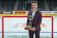 REGINA, SK - MAY 26: Sports Humanitarian of the Year Garrett McFadden of the Guelph Storm at the Brandt Centre on May 26, 2018 in Regina, Canada. (Photo by Marissa Baecker/CHL Images)