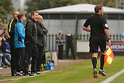 Forest Green Rovers manager Mark Cooper talks to the referee's assistant about the penalty claim 0-0 during the Vanarama National League match between Forest Green Rovers and Dagenham and Redbridge at the New Lawn, Forest Green, United Kingdom on 29 October 2016. Photo by Alan Franklin.