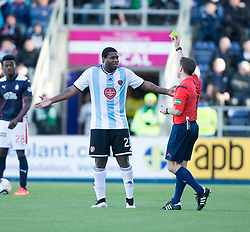 Hearts Genero Zeefuik get booked. <br /> Falkirk 0 v 3 Hearts, Scottish Championship game played 21/3/2015 at The Falkirk Stadium.