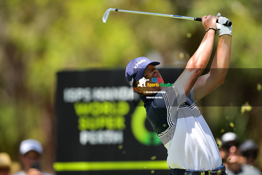 PERTH, AUSTRALIA - FEBRUARY 16: Paul Dunne (IRL) on the 8th tee during the 3rd round of the ISPS Handa World Super 6, Lake Karrinyup Country Club, Perth, Western Australia, on February 16, 2019. <br /> .<br /> .<br /> .<br /> (Photo by: Naratip Golf Srisupab/SEALs Sports Images)<br /> .<br /> Any image use must include a mandatory credit line adjacent to the content which should read: Naratip Golf Srisupab/SEALs Sports Images