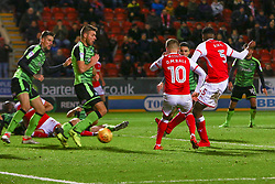 Semi Ajayi of Rotherham United shoots to score a late equaliser against Plymouth Argyle - Mandatory by-line: Ryan Crockett/JMP - 16/12/2017 - FOOTBALL - Aesseal New York Stadium - Rotherham, England - Rotherham United v Plymouth Argyle - Sky Bet League One