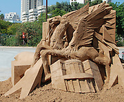 Israel, Tel Aviv, As part of the centennial celebrations, sand sculptures of famous buildings and landmarks were created. The flying camel statue the symbol of the 1934 Mideast fair held in Tel Aviv