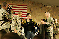al franken receives a jacket after USO show in Baghram, Afghanistan<br /><br />photo by Owen Franken<br /><br />Dec 23, 2006