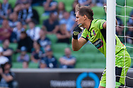 SYDNEY, NSW - JANUARY 12: Newcastle Jets goalkeeper Lewis Italiano (20) gestures at the Hyundai A-League Round 13 soccer match between Melbourne Victory and Newcastle Jets at AAMI Park in VIC, Australia 12 January 2019. (Photo by Speed Media/Icon Sportswire)