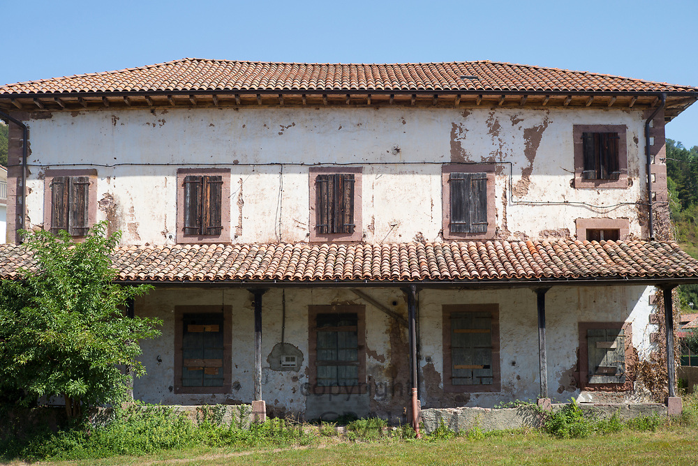 Ancient derelict typical Basque house in Erratzu in Valle de Baztan, Basque Country, Spain