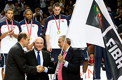 Turgay Demirel, president of Turkish basketball federation,  Bob Elphinston, ex-president of FIBA and  Jose Luis Saez, president of Spanish basketball federation with FIBA's flag as an organizer of the next World Championships in Spain at medal ceremony  after the finals basketball match between National teams of Turkey and USA at 2010 FIBA World Championships on September 12, 2010 at the Sinan Erdem Dome in Istanbul, Turkey.  USA defeated Turkey 81 - 64 and became World Champion 2010. (Photo By Vid Ponikvar / Sportida.com)