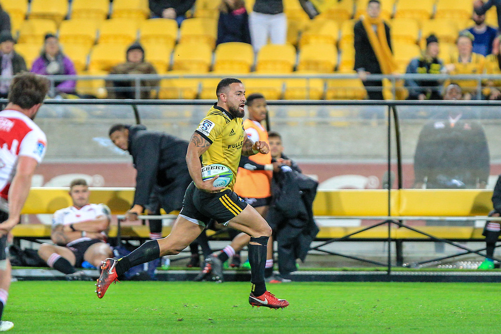 Matt Proctor runs with the ball during the Super rugby (Round 12) match played between Hurricanes  v Lions, at Westpac Stadium, Wellington, New Zealand, on 5 May 2018.  Hurricanes won 28-19.