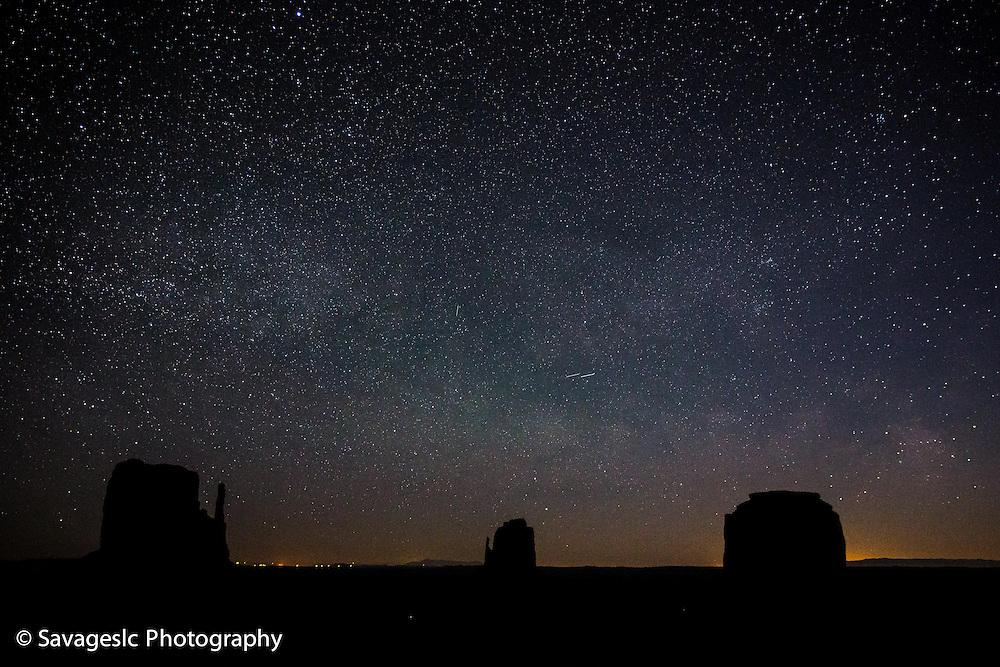 The stars over Monument Valley, Utah 2014