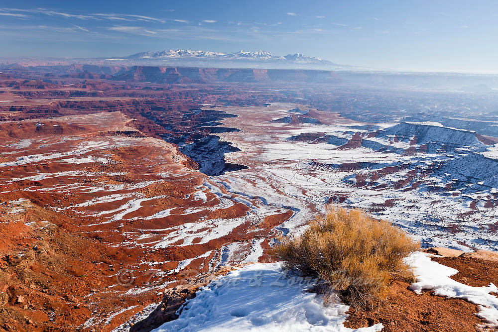 Looking east towards La Sal Mountains from Island in the Sky section of Canyonlands National Park in winter